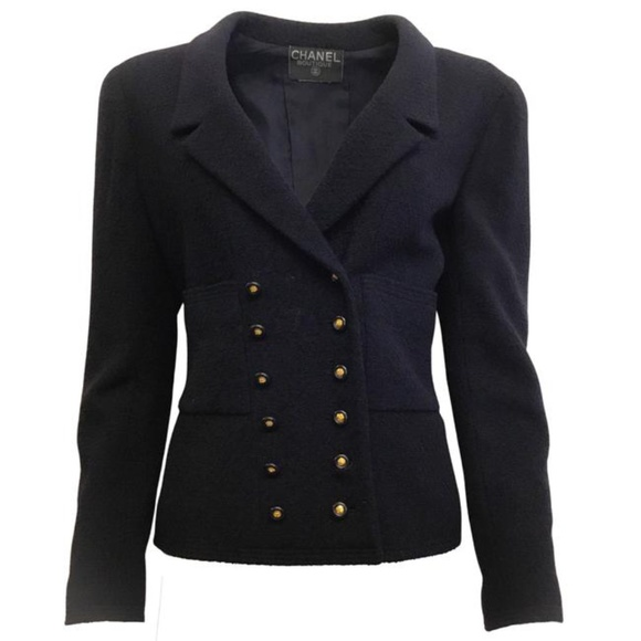 Chanel Navy Vintage Double Breasted Wool Blazer